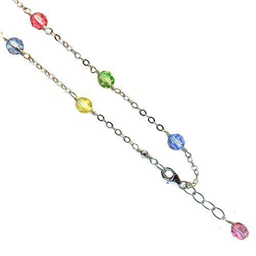 9 Inch Black Bow Jewelry Sterling Silver Fancy Multicolor Jasper Anklet