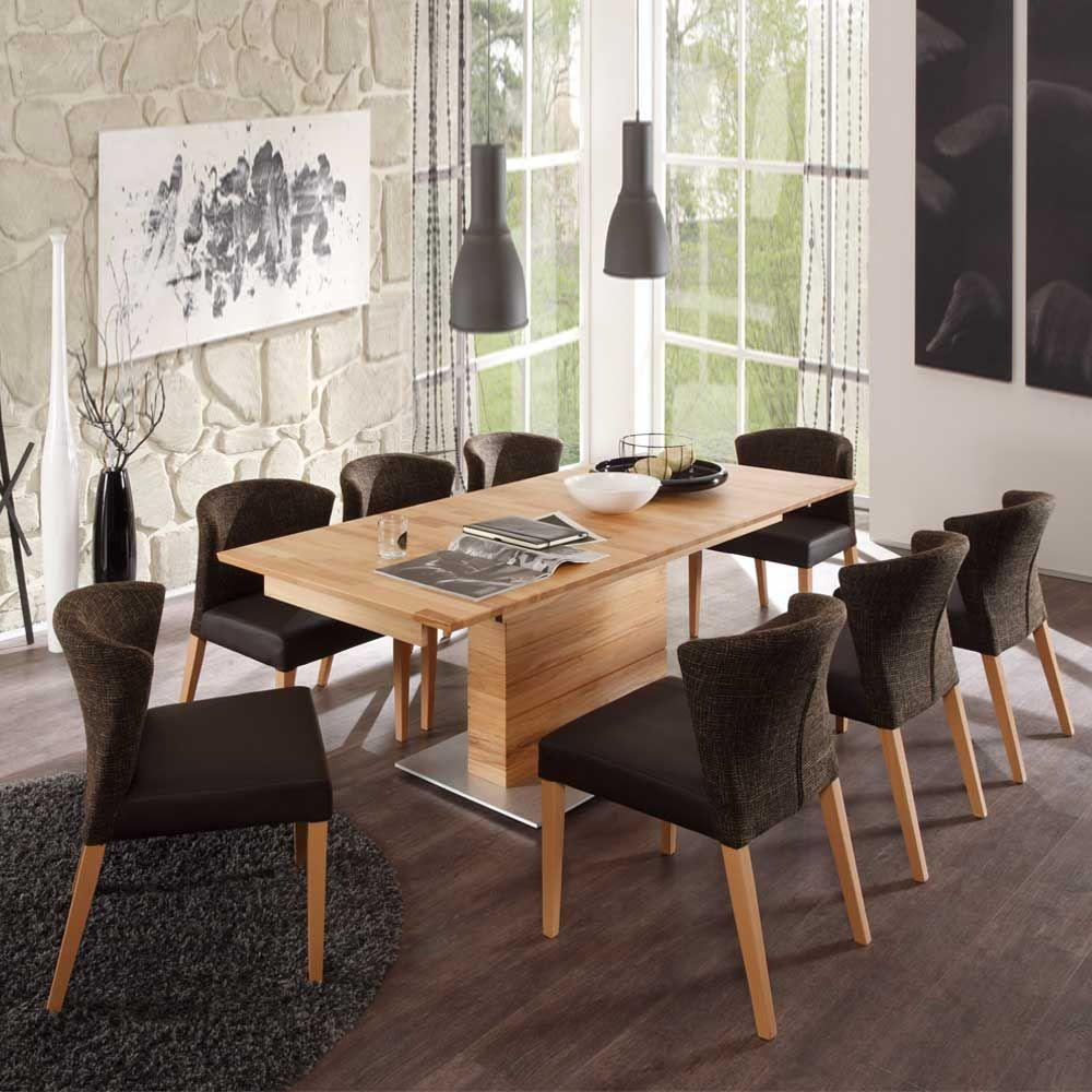 Esstisch mit Stühlen aus Kernbuche Massivholz modern (9-teilig ...