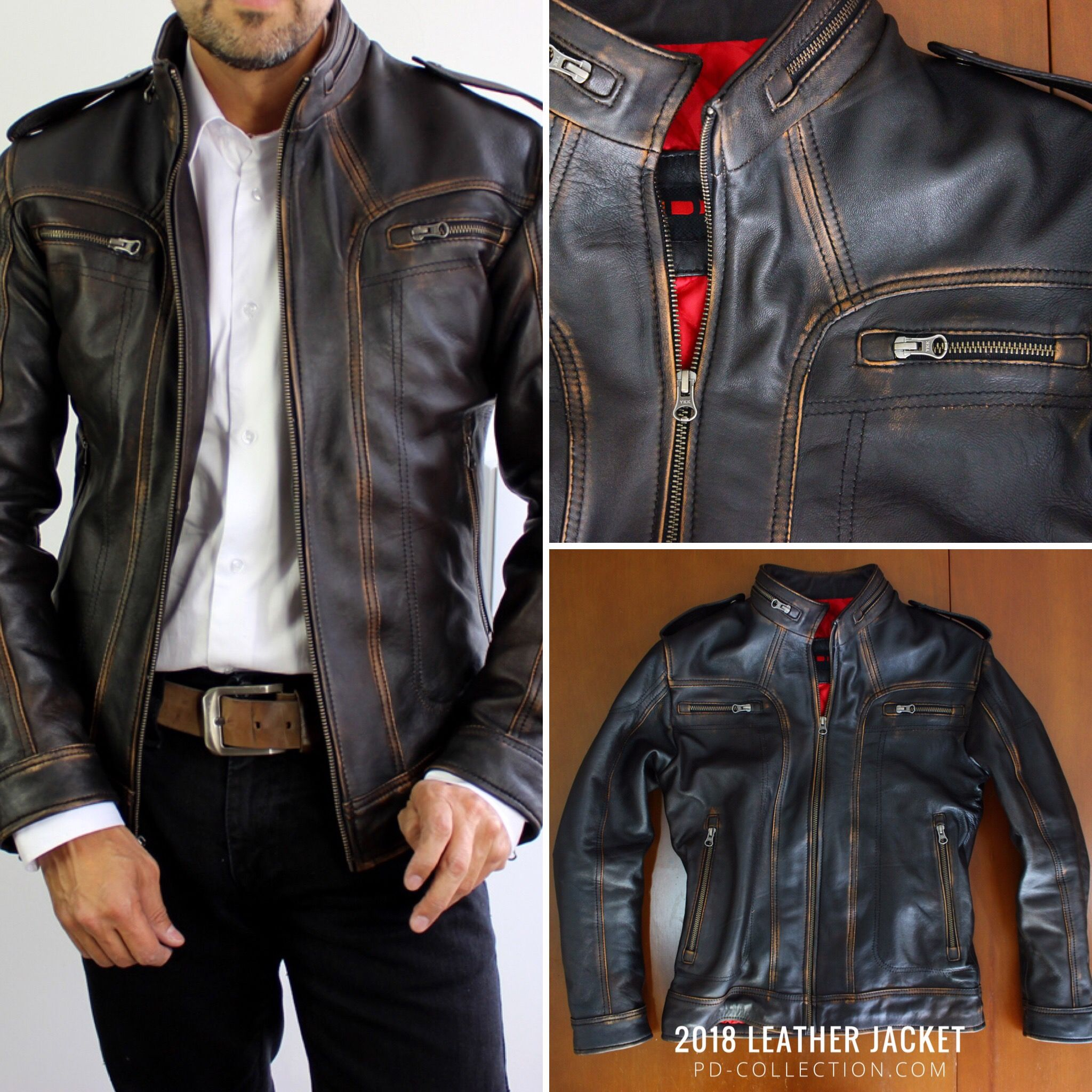 2018 AX Leather Jacket Distressed Black Leather jacket