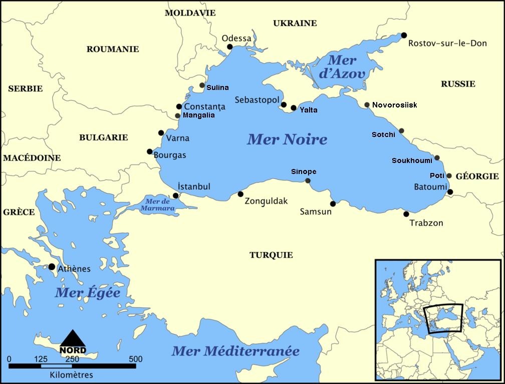 Carte de la mer noire et de la mer d 39 azov et leurs - Quel est le nom le plus porte au monde ...