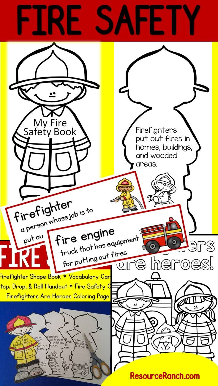 This cute fire safety shape book is a great way to help students understand what they need do in the case of a fire. Fire Prevention Week is October 9-15, 2016   This fire safety resource includes:  - Fireman shape book  - Picture vocabulary cards  - Stop, Drop, & Roll handout  - Firefighters Are Heroes coloring page  - Fire safety quiz