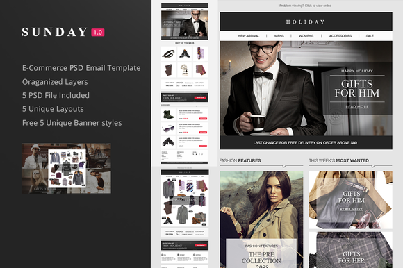 Sunday Email PSD Responsive email,