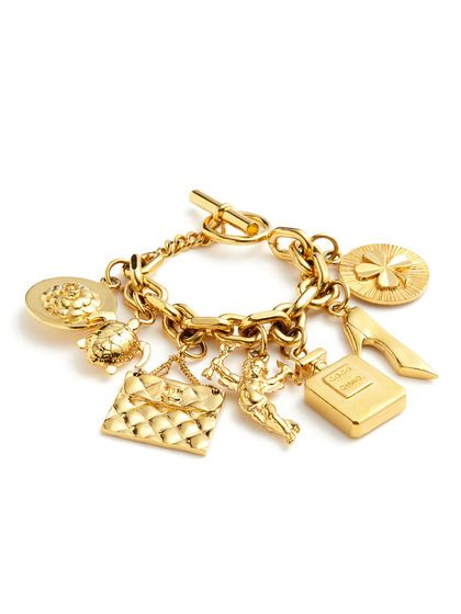 Vintage Seven Icon Gold Charm Bracelet By Chanel