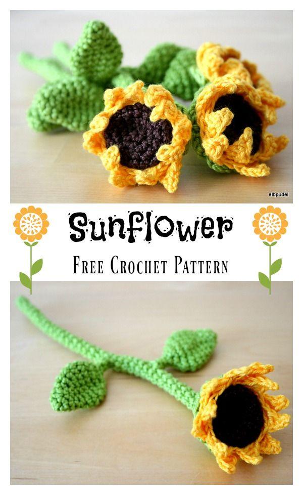 12 DIY Crochet Sunflower Pattern | Blumen häkeln, Häkeln und Blumen ...