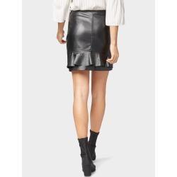 Tom Tailor Damen Kurzer Rock in Leder-Optik, schwarz, unifarben, Gr.38 Tom TailorTom Tailor