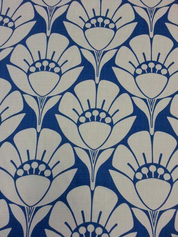 Outdoor Famous Maker Printed Large Scale Modern Floral Flower Blue
