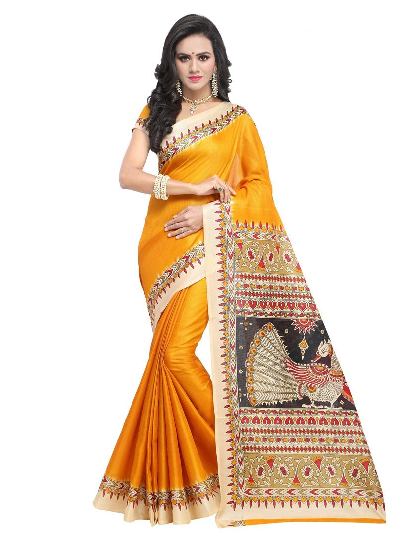 45b0b24239845d Buy Yellow Khadi Festival Wear Saree 147595 with blouse online at lowest  price from vast collection of sarees at Indianclothstore.com.