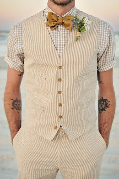 Seerer Vest Pants Short Sleeves Beach Wedding Bow Tie