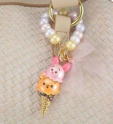 NEW DISNEY TSUM TSUM ICE CREAM Pooh & Piglet Bag charm cotton pearl CUTE JAPAN