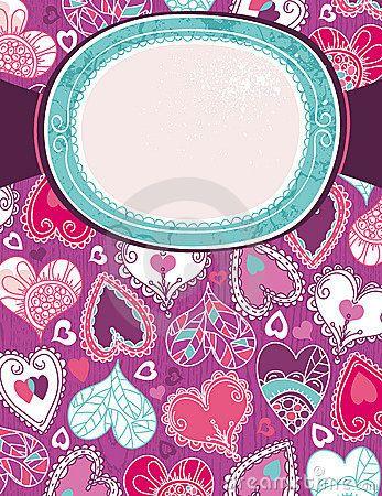 Violet valentine background with color hearts, vector illustration