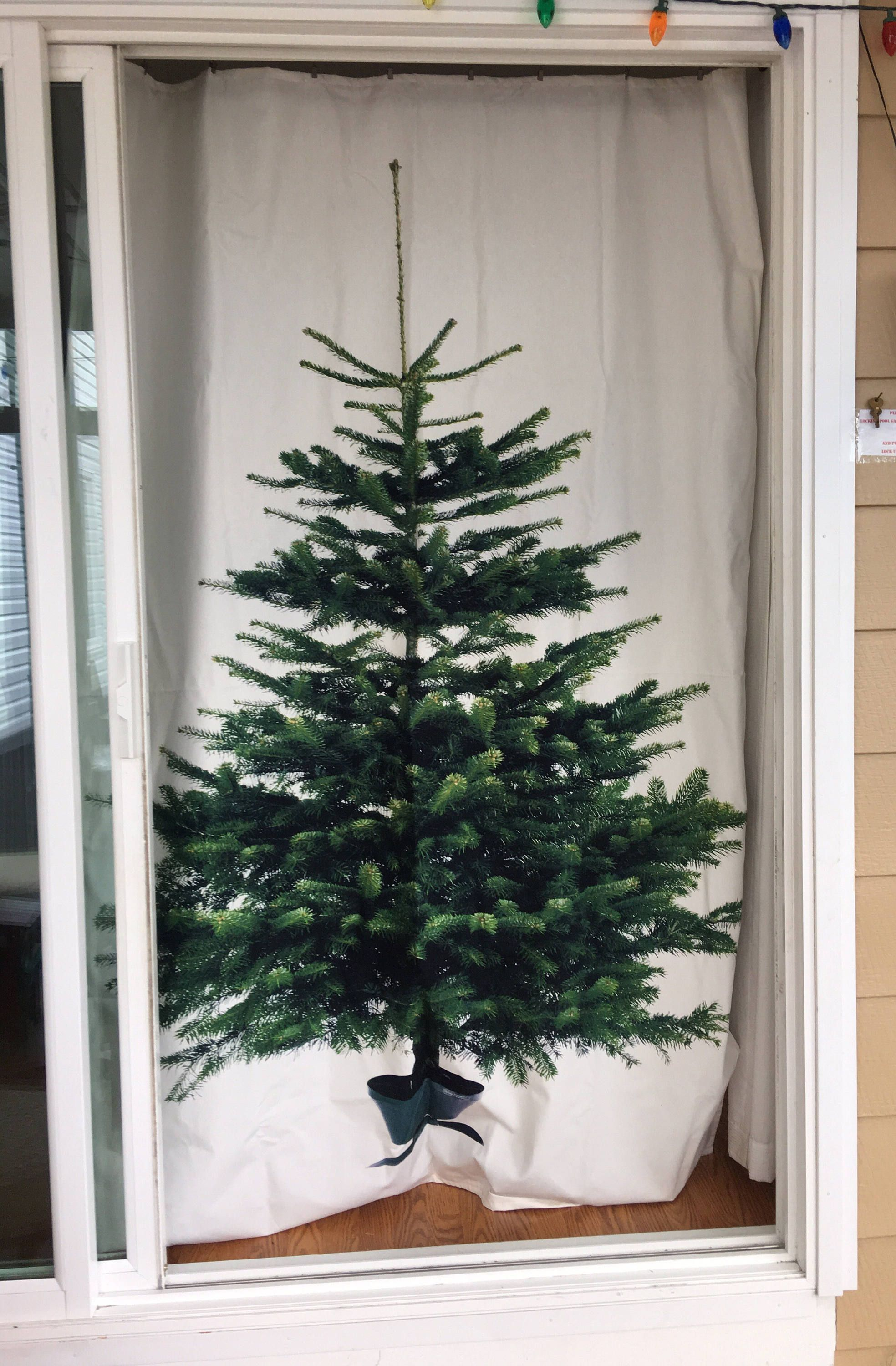 Decorative Curtains For Living Room: Christmas Tree Curtain Or Decoration Panel / Fabric