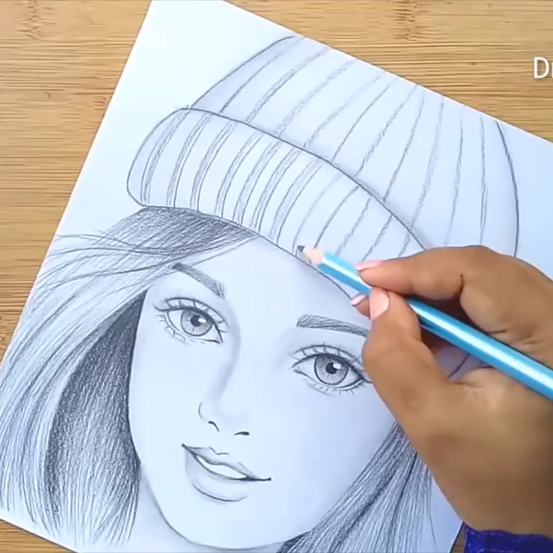 How to draw a girl wearing winter cap for beginners