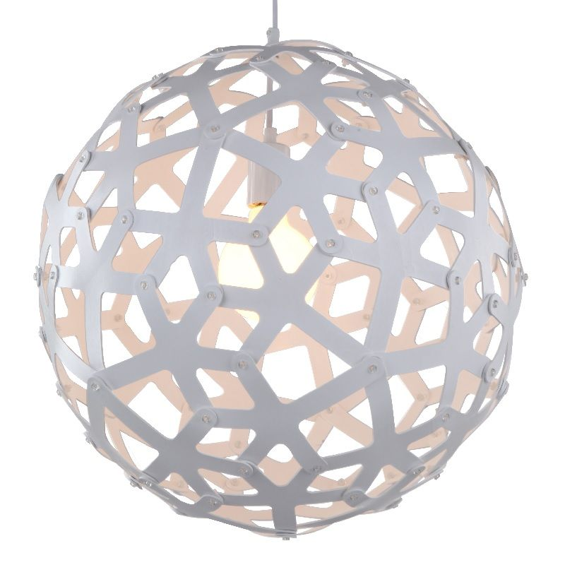 Large Wood Sphere Light Fixture In White