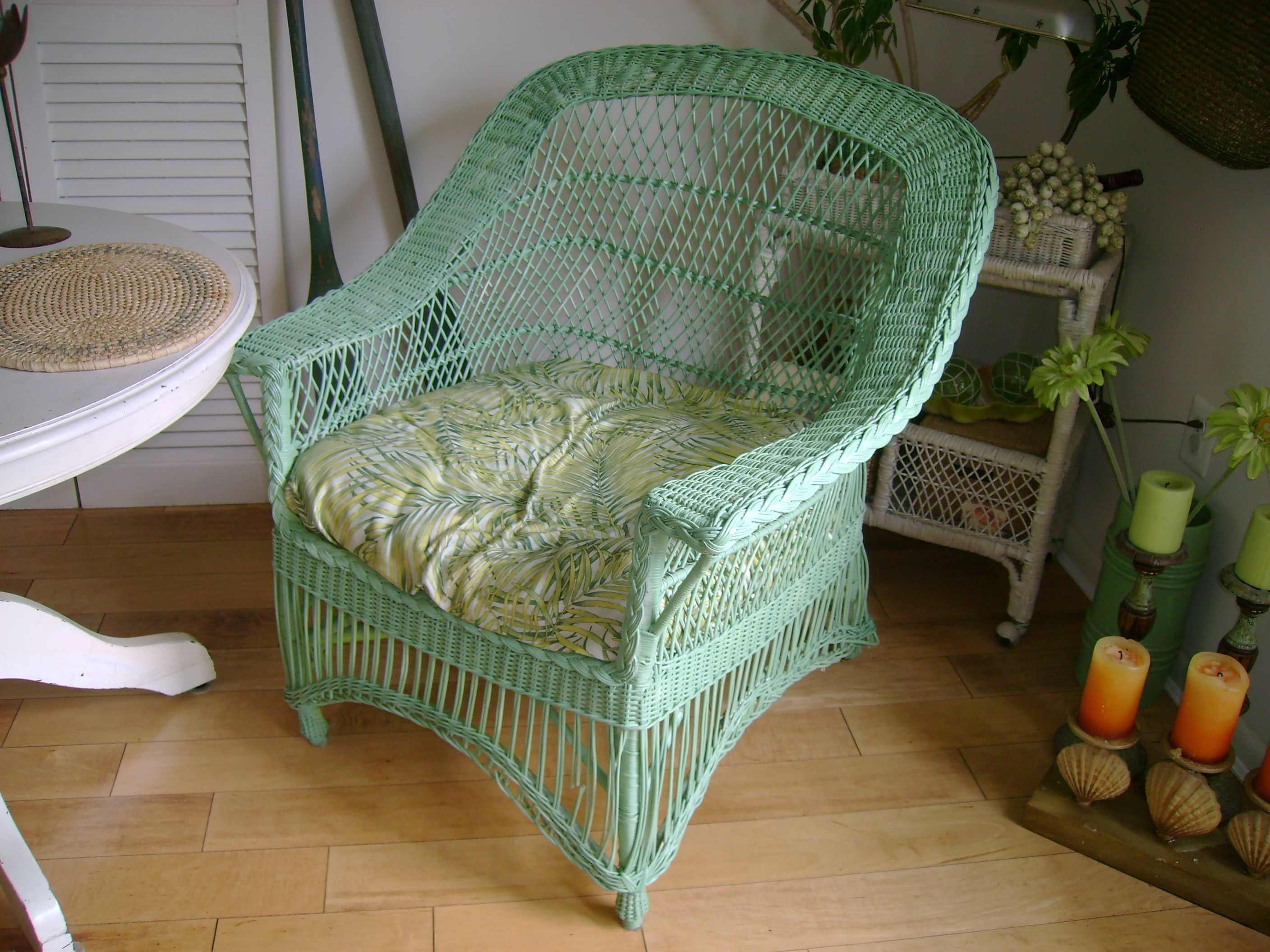 Green Painted Wicker Chair Wicker Chairs Wicker Furniture And Outdoor Furn