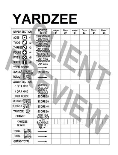 Yardzee template score sheet PDF file word by AshleyysFinds $500