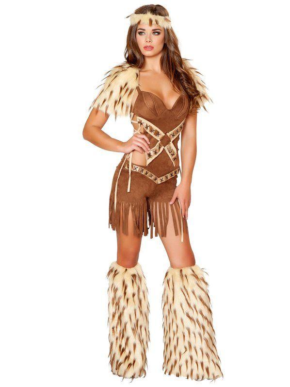 Halloween Women Indian Leopard Costume Native American Wild West Fancy Dress