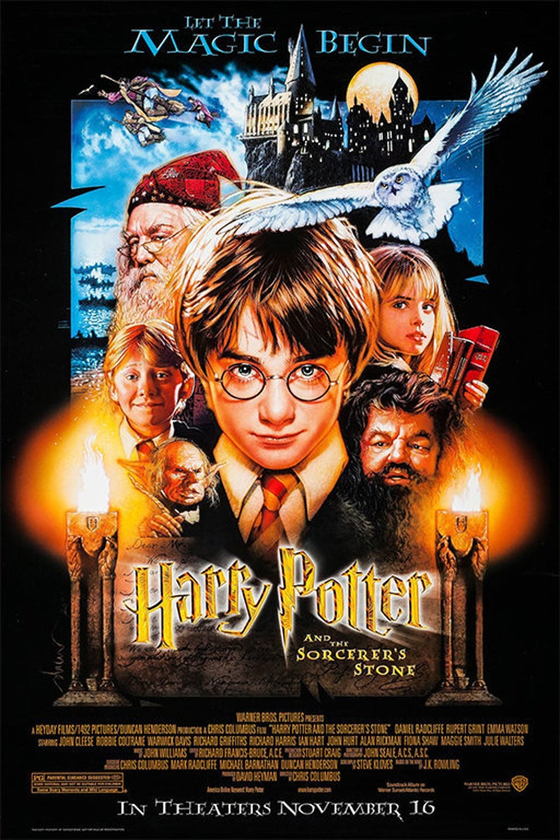 Harry Potter And Sorcerers Stone 2001poster Classic Movie Etsy Harry Potter Movie Posters Harry Potter Movies Harry Potter Poster