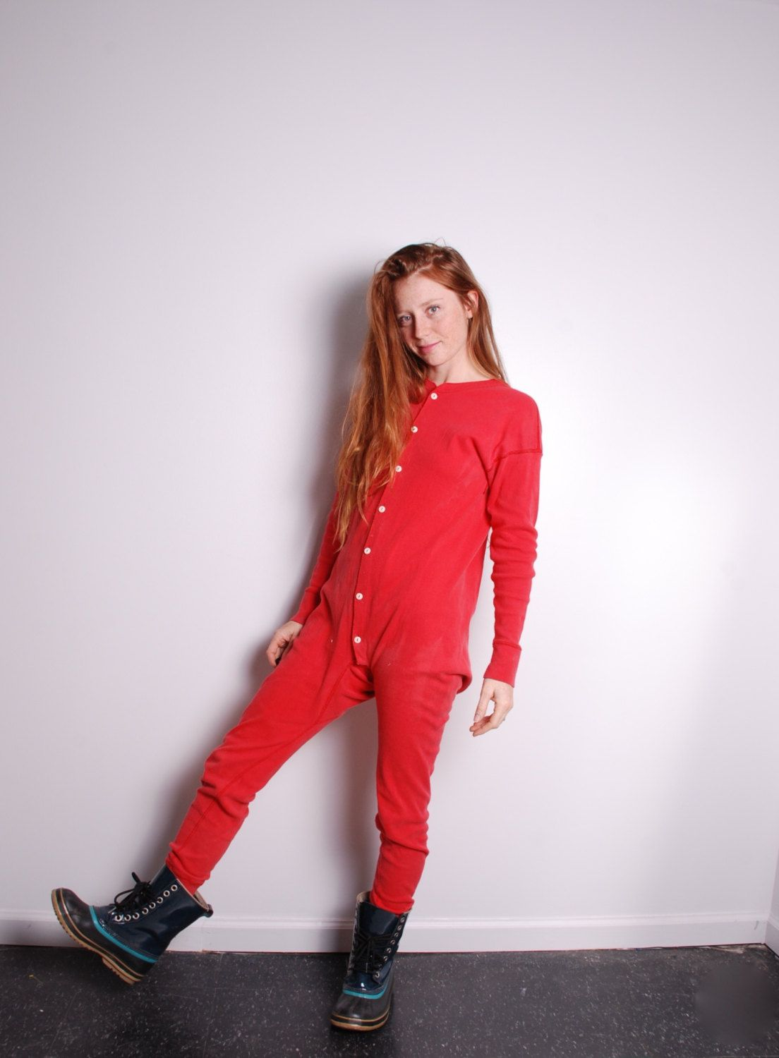 e65792c14db49 70s large red union suit long johns thermals underwear button up ...