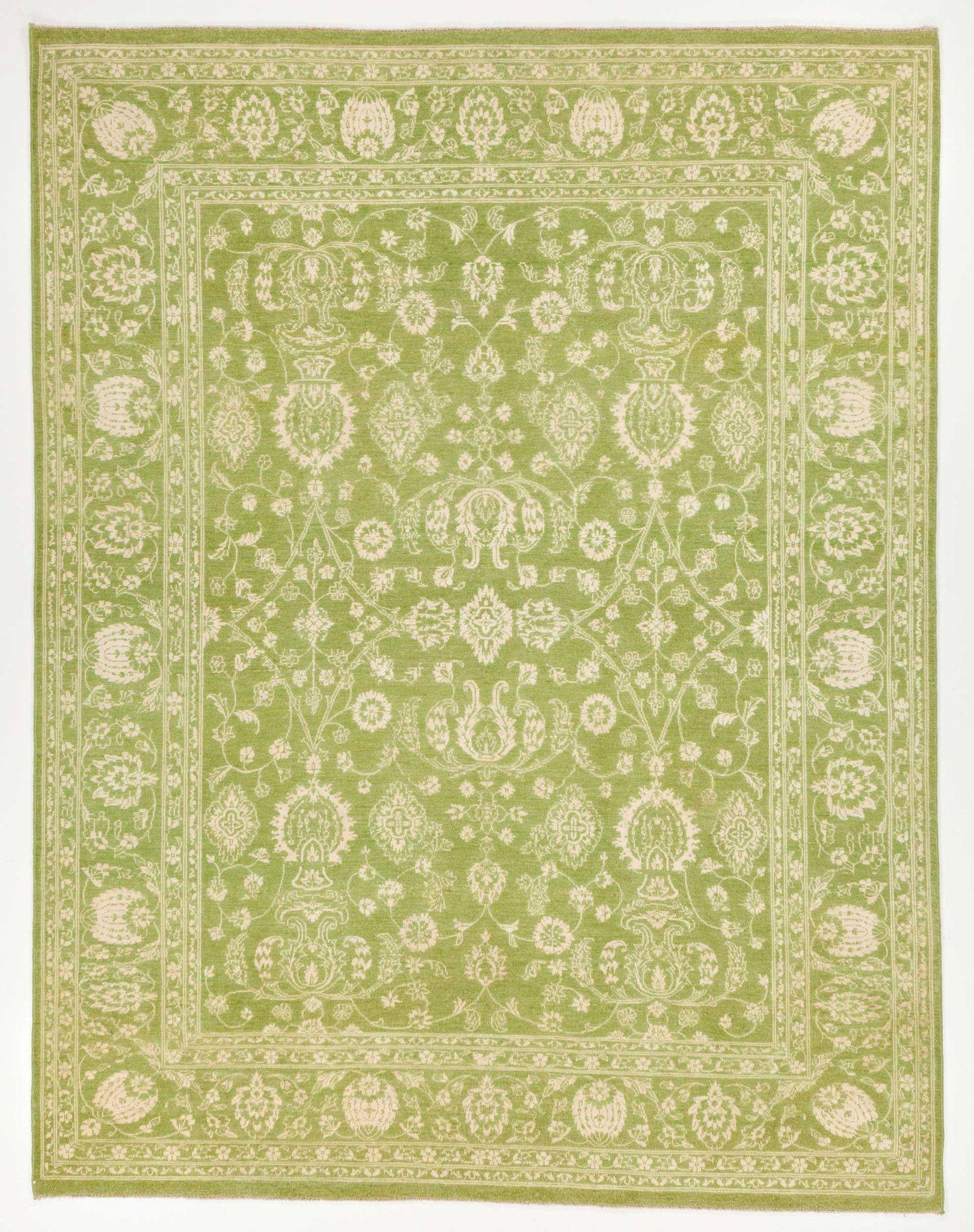 8 0 X 10 4 Light Lime Green Ivory Wool Silk Rug Classic Rugs