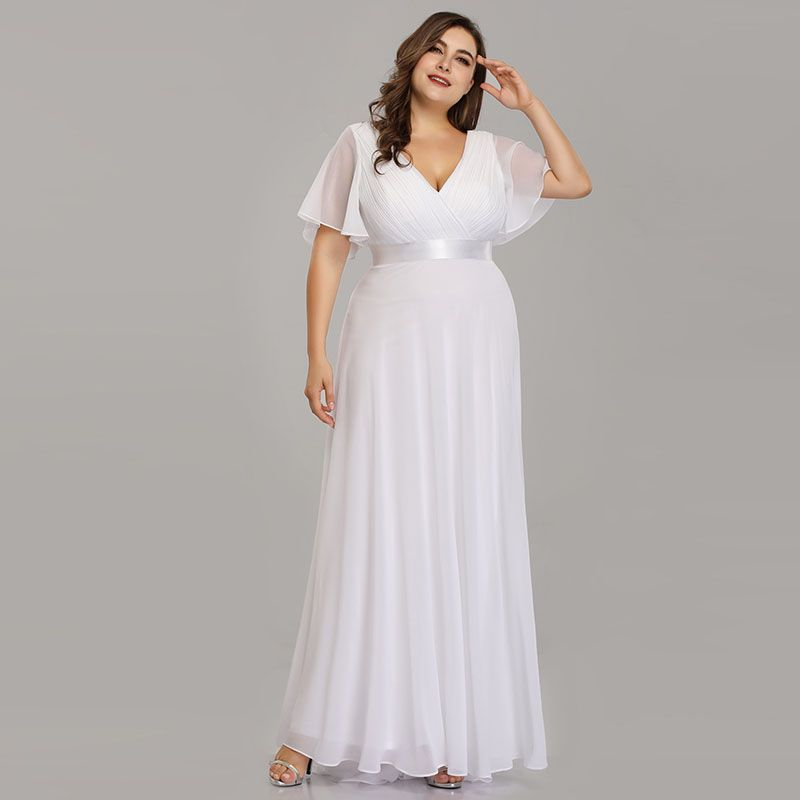 Plus Size Pink Prom Dresses Long Ever Pretty V-Neck ...