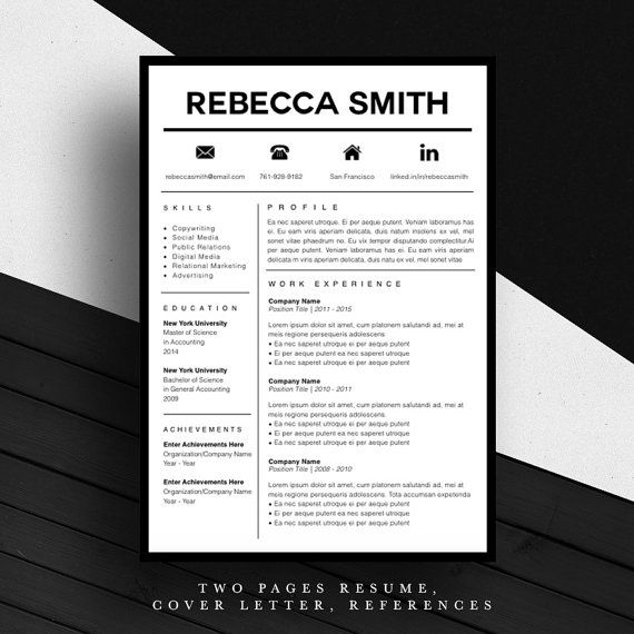 Creative Resume Template CV Template Cover Letter For MS - iwork resume template