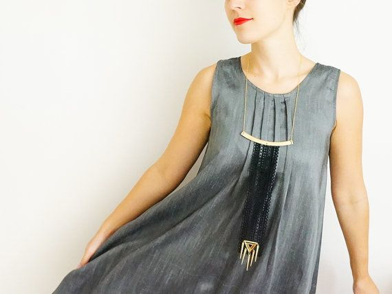 Worycia // Handmade Black Lace Necklace Applique Golden Chain Blouse Accessories Collar Long Statement Necklace Tribal Geometric Triangle on Etsy, $42.00