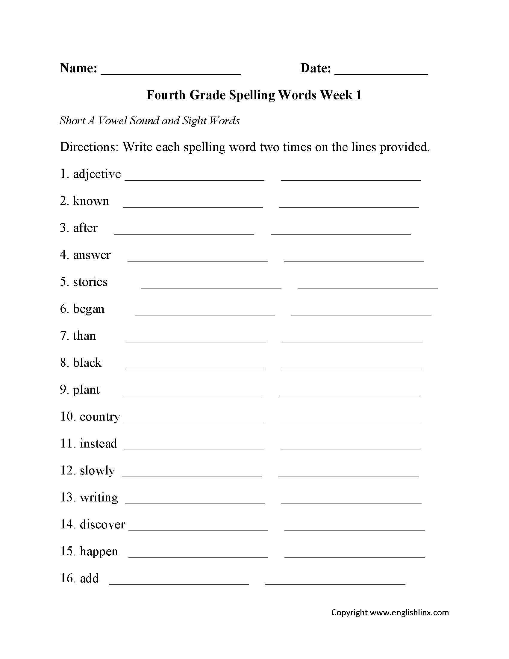 Week 1 Short A Vowel Fourth Grade Spelling Worksheets