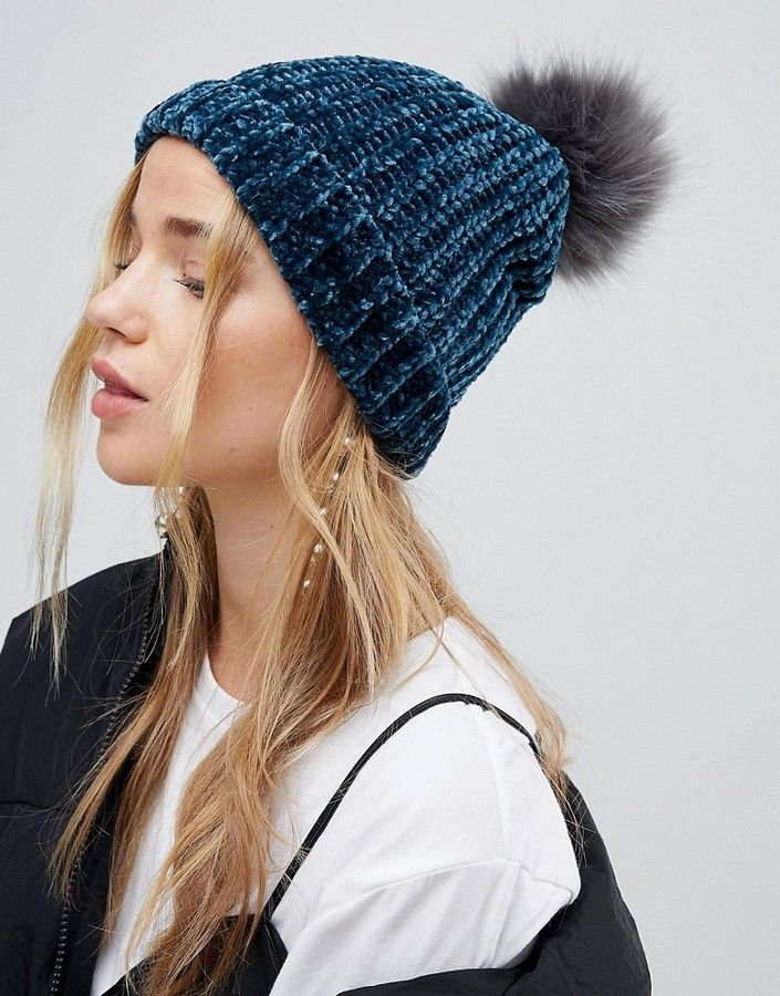 New Look Chenille Faux Fur Bobble Hat. Good choice for cold winter!  (affiliate) ce26a1a43168