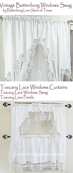 Vintage Battenburg Windows Swags Vintage Tuscany Lace Windows Panels And Tuscany Windows Swags Lace Window Battenburg Lace Window Swags