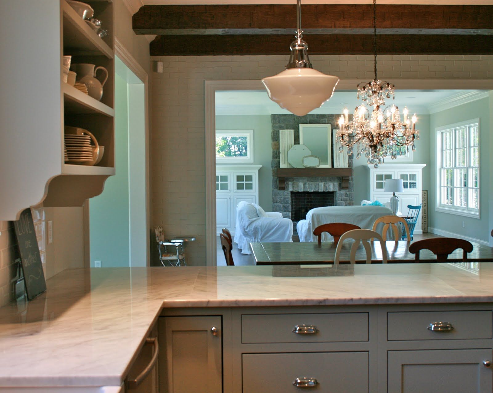 Gray Painted Kitchen Cabinets | ... grey-cabinets-white-marble-tops ...