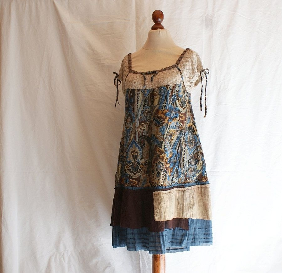 Dress Tunic Brown Blue Beige Size L XL Upcycled Woman's