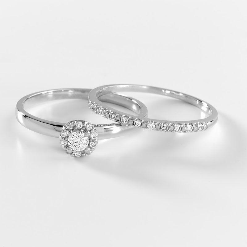 908a09c6688 Duo alliance demi-tour solitaire or 750 blanc diamant - Femme - Solitaire