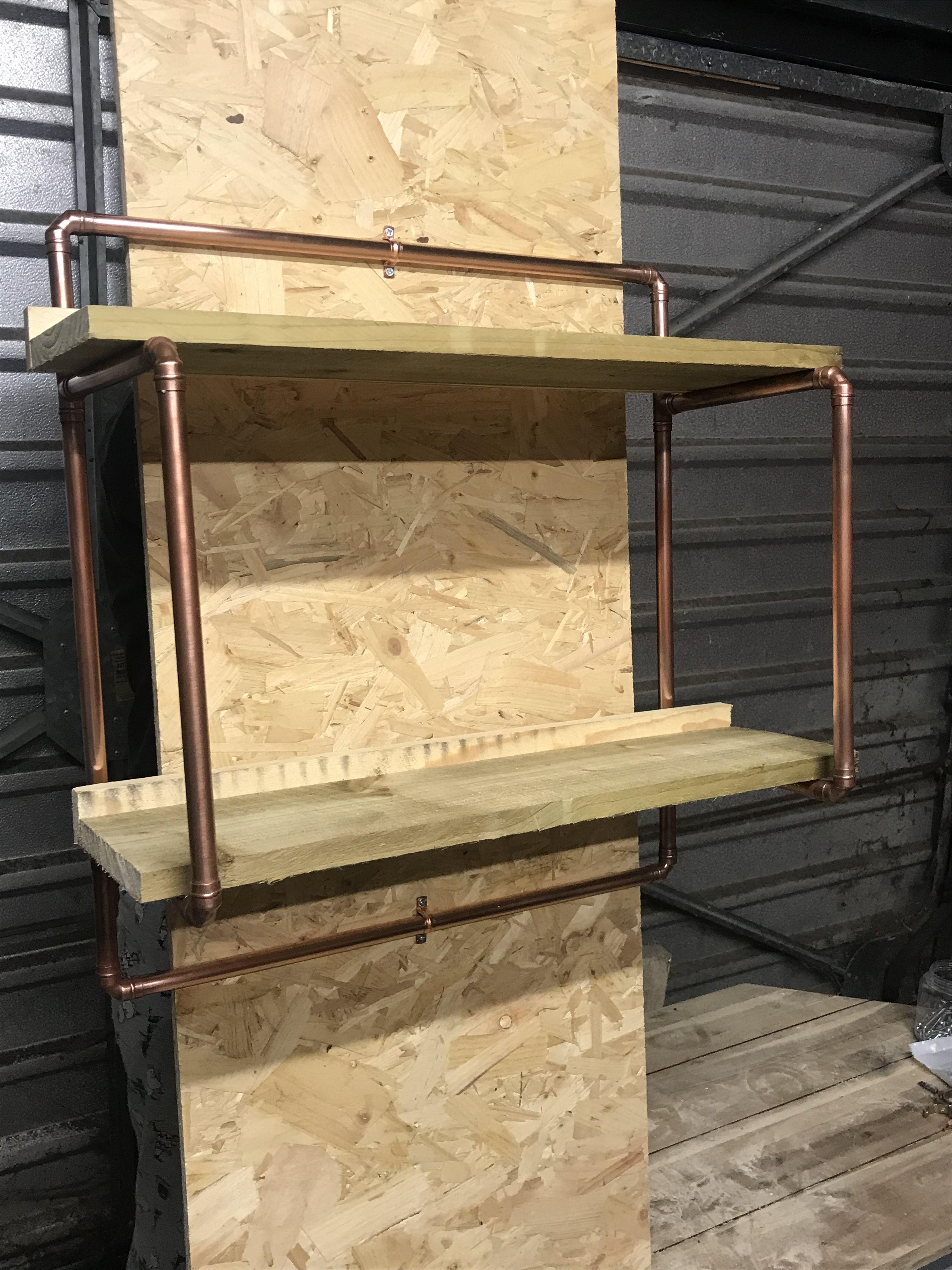 Copper pipe shelving unit in furniture pinterest home