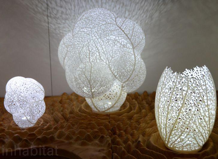 Nervous System S Ethereal 3d Printed Led Leaf Lamps Shine Light On Natural Design Nervous System 3d Printed Hyphae Led Lamp Lamp Nature Design Led Table Lamp