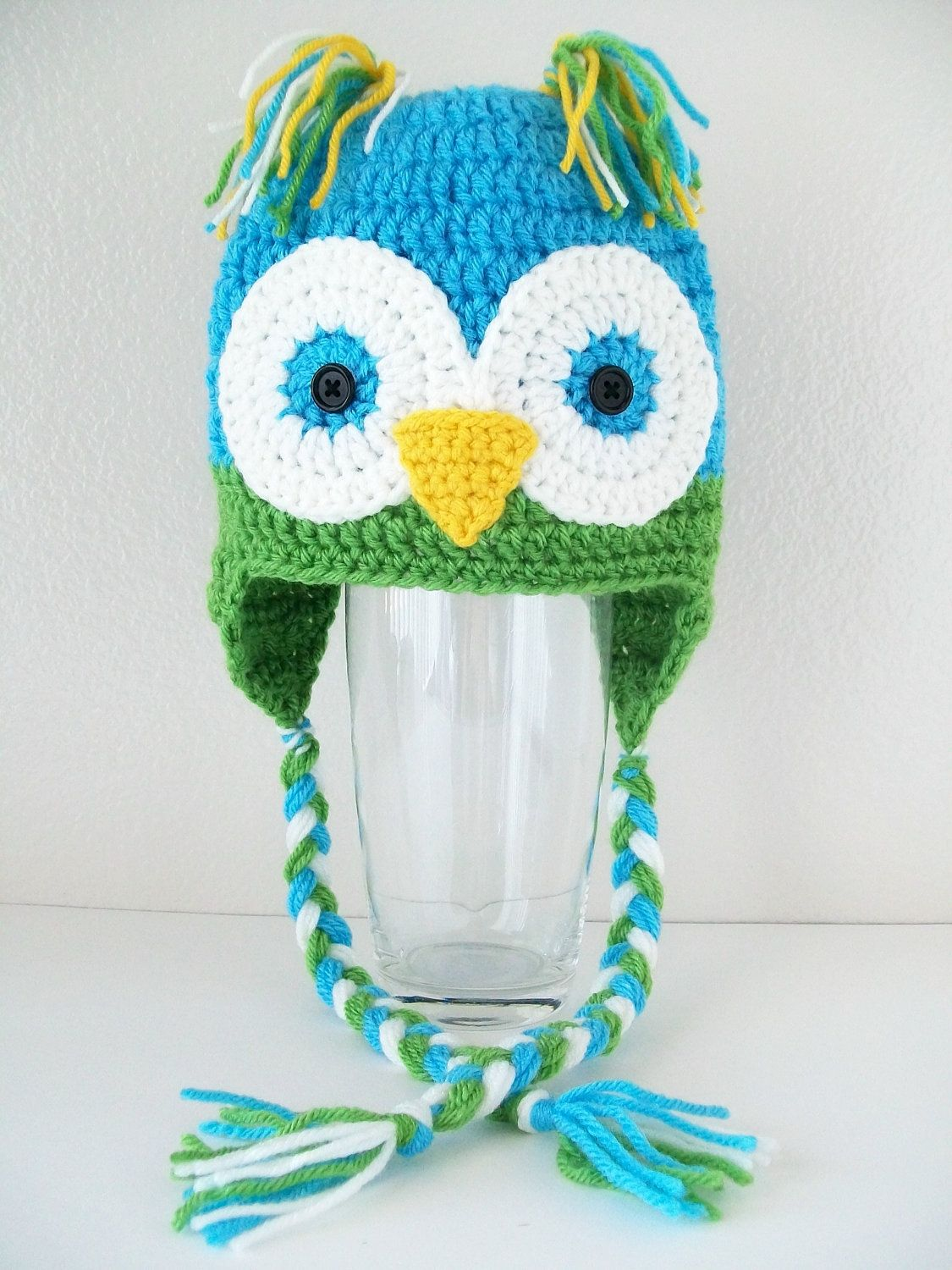 f8c6f7a8f0f Crochet Blue Green Owl Hat Beanie with Earflaps - Baby Boy Girl Kids Infant  adult teen Owl Hat - Photo Prop Owl hat.  28.00