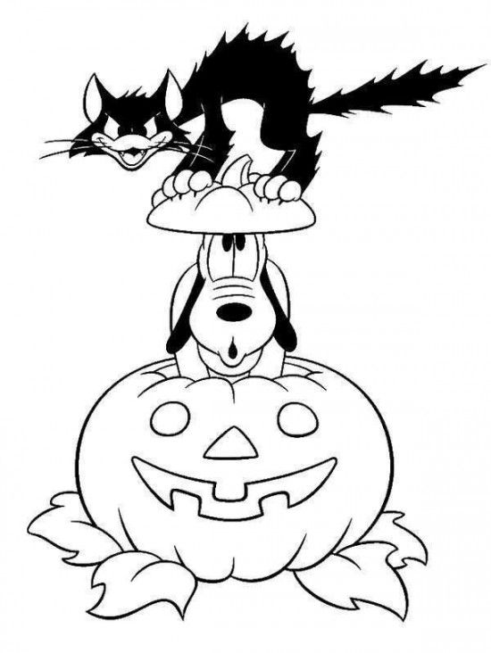 Halloween Cat Coloring Pages - GetColoringPages.com | 732x550