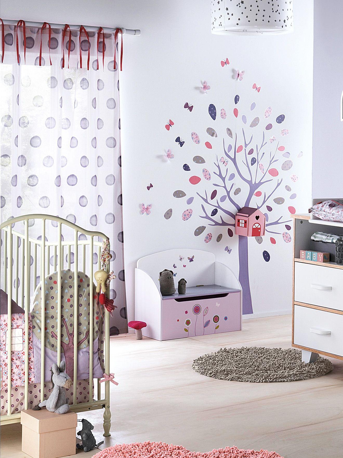 Vertbaudet Kinderzimmervorhang mit Bändern in violett (105