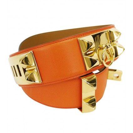 Hermes Orange Calfskin Collier De Chien Belt - Vintage | Portero Luxury