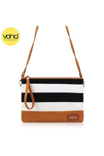 632a30cbef Belanja VONA Ava (Hitam Putih) - Tas Wanita Selempang Sling Bag Clutch  Kanvas Garis