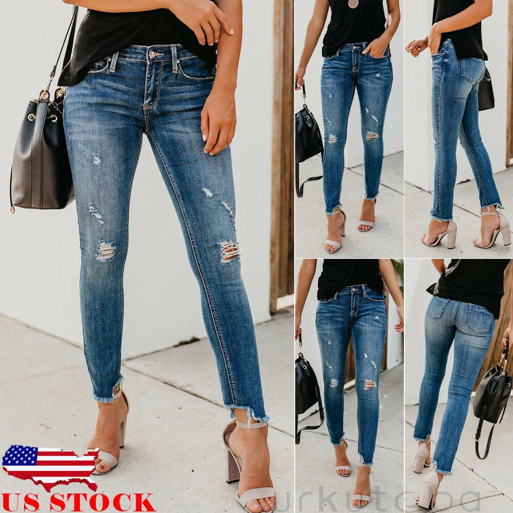 New!Women Boyfriend  Destroyed Ripped Distressed Slim Denim Pants Jeans Trousers
