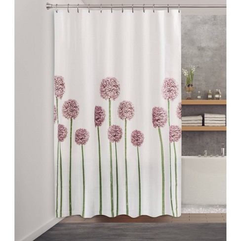 Fabric Floral Shower Curtain Purple Green Splash Home Floral