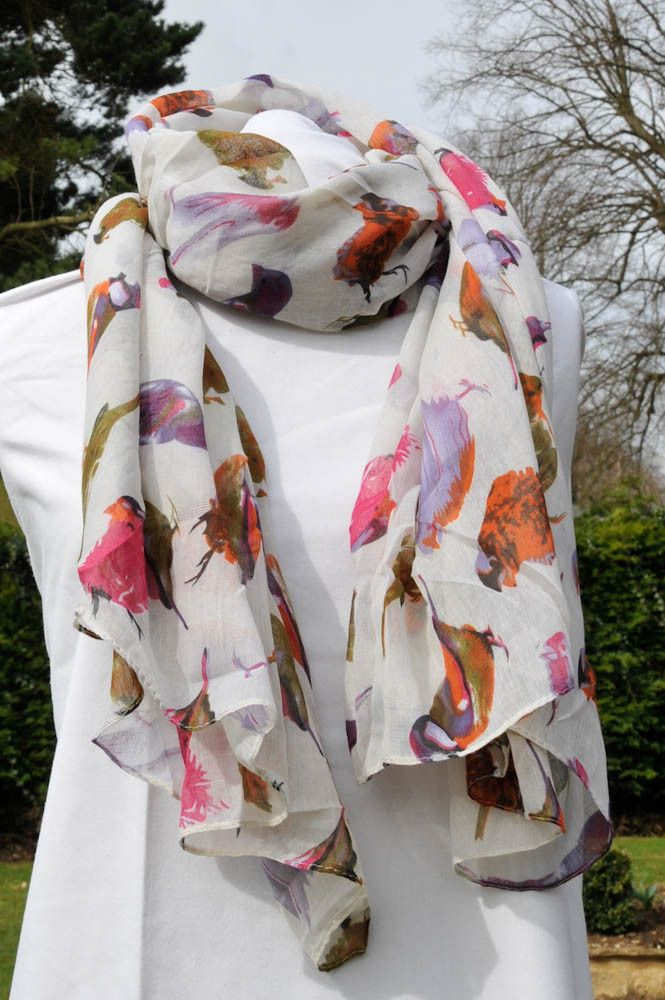 White birds scarf (without border), £12.50