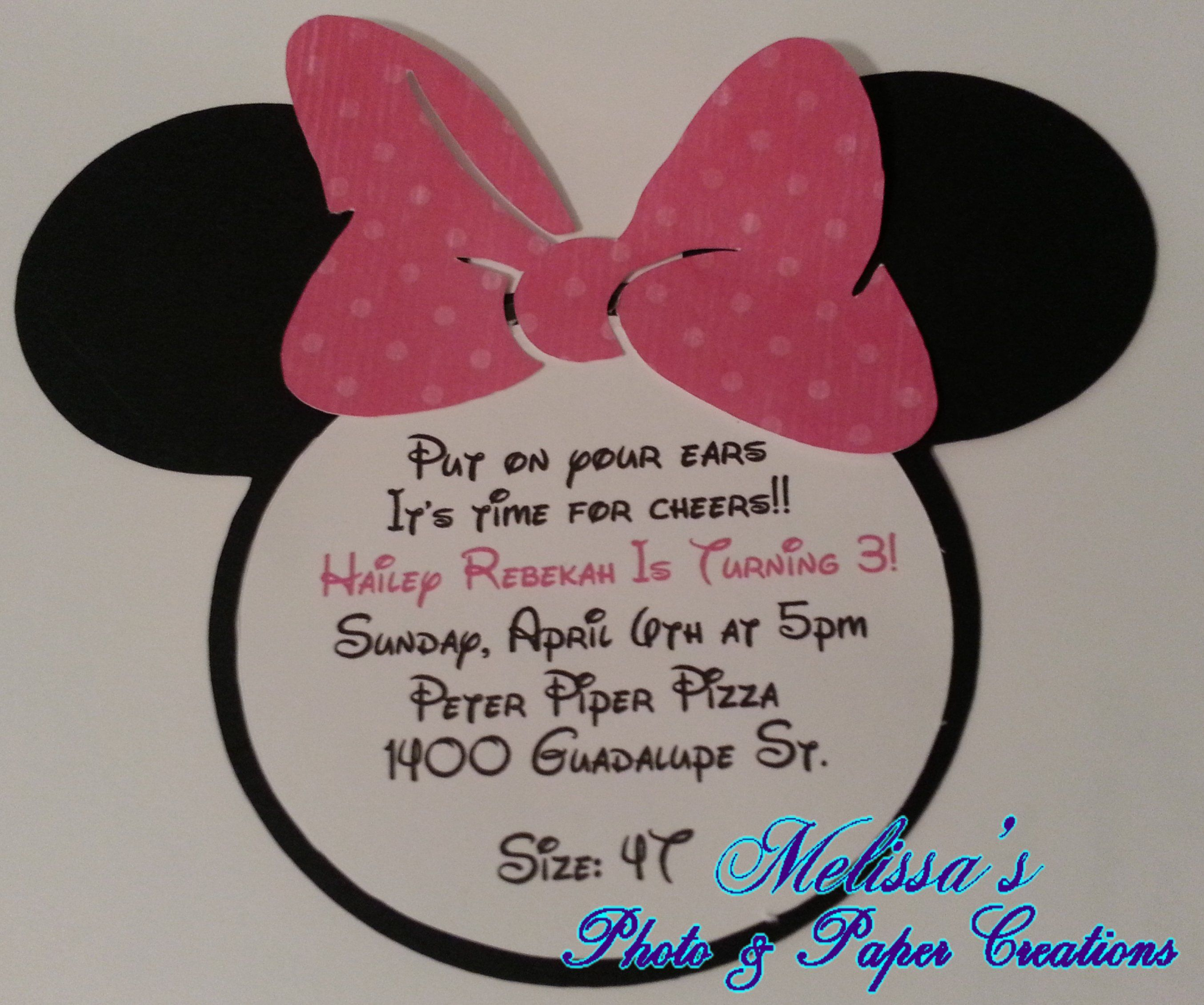 Handmade Minnie Mouse Head Invitation Girl Party Invitations