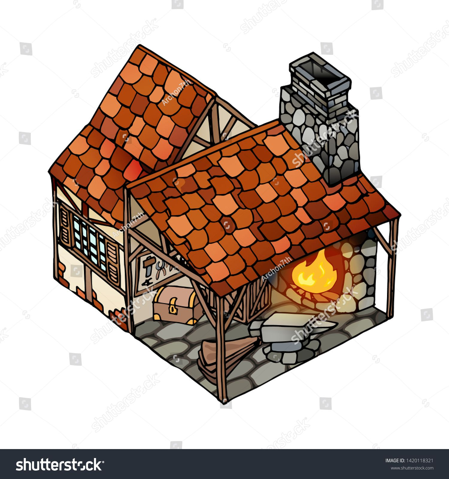 Vector isometric house. Old European blacksmith medieval german traditional style. Vector isolated object on white background. Clipart building for infographics and mobile games assets. ,