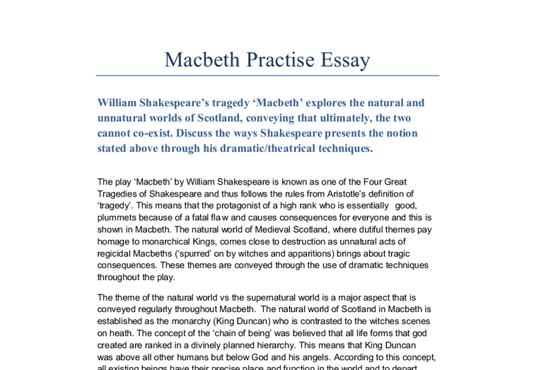 Lady macbeth essay
