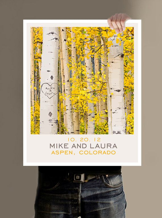Personalized Wedding Gift Outdoor Nature Themed Aspen Tree Art