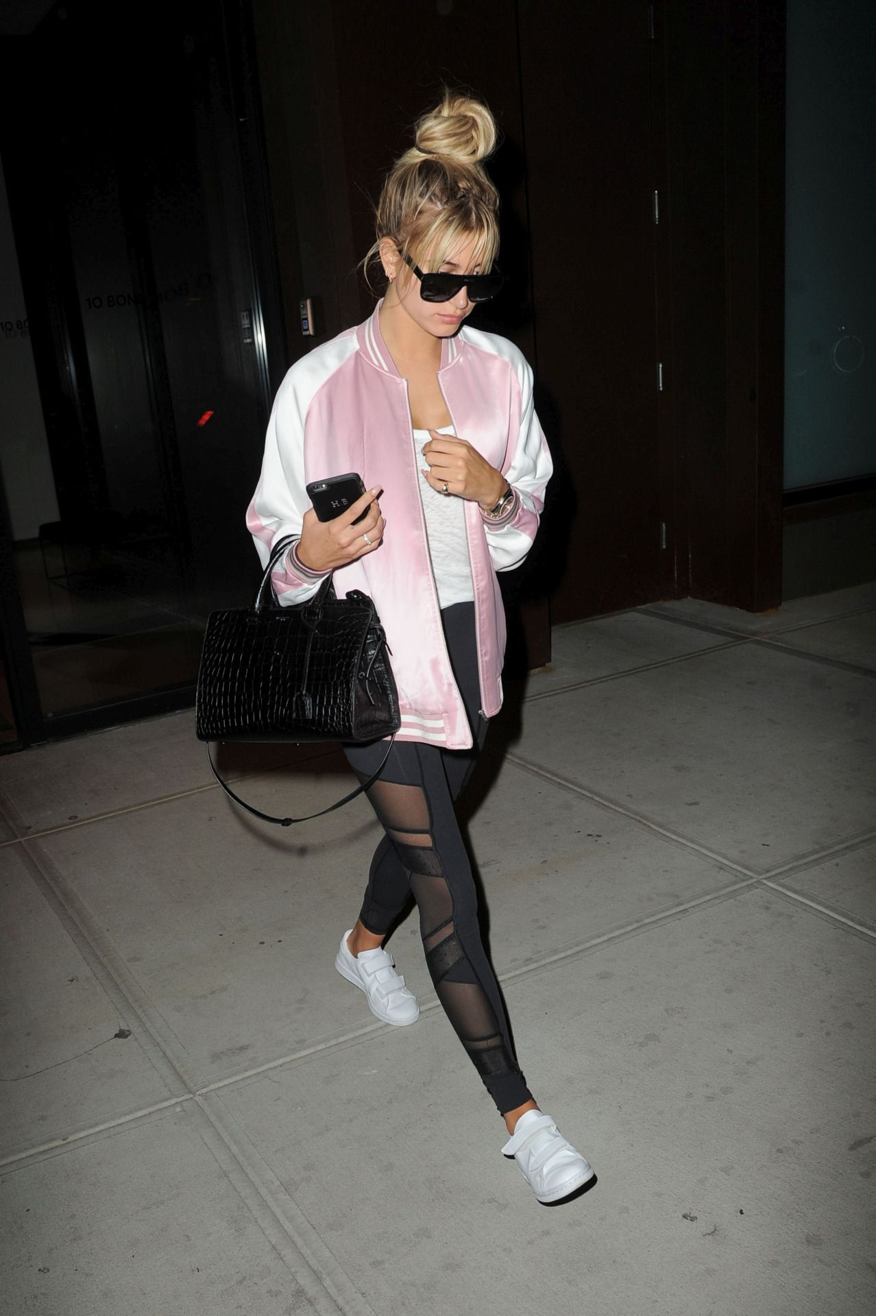 Hailey Baldwin looking bomb-er in this bomber jacket and leggings combo
