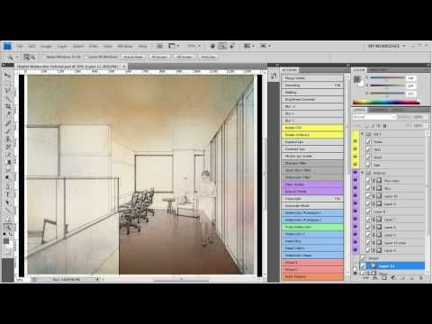 Digital Watercolor Technique - Architectural Rendering