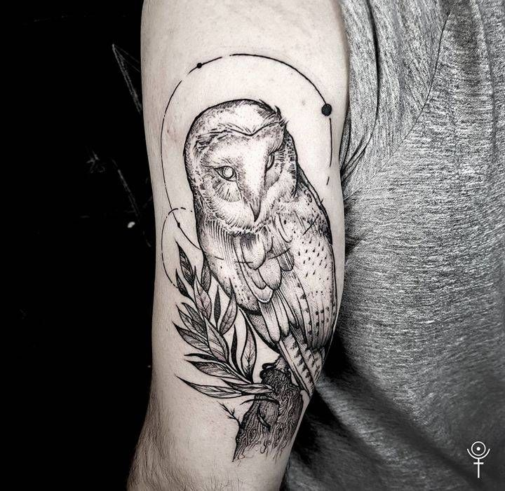 This Style But Replace With A Fruit Bat Barn Owl Tattoo On The Back Of The Left Arm Tattoo Artist Gabor Zolyomi Tattoos Barn Owl Tattoo Sleeve Tattoos