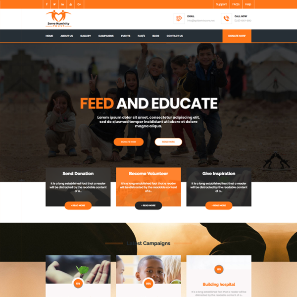 Servehuman Responsive Charity And Woocommerce Wordpress Theme Joomla Templates Woocommerce Wordpress Themes Charity